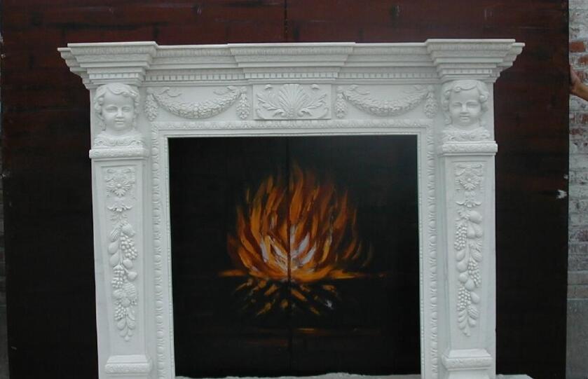 石雕壁炉工艺品_简约白色壁炉(图片)
