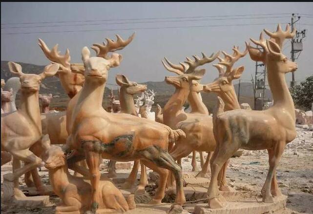 雕刻鹿_母子鹿石雕(图片)