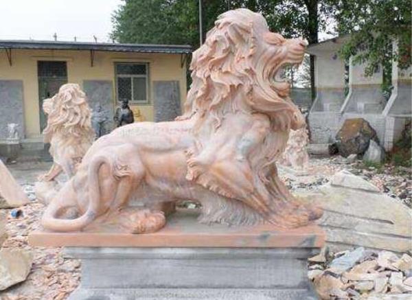 石狮子_雕刻汉白石狮子(图片)