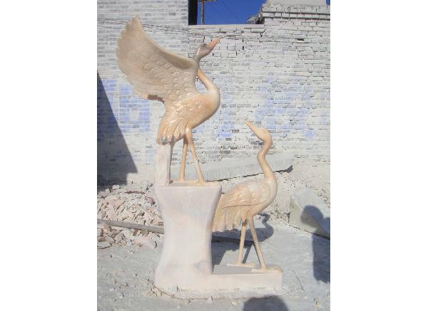 仙鹤雕刻工艺品厂家_白鹤雕塑(图片)